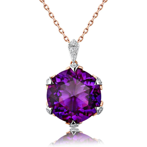 Image of Maia Amethyst Pendant 14K Rose Gold