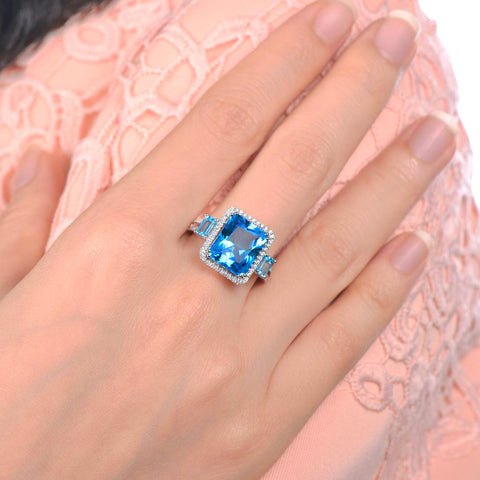 Hathor Sky Halo Blue Topaz 14k White Gold Solitaire Ring