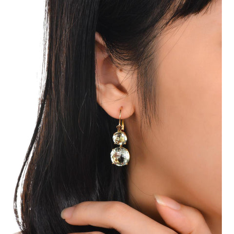 Image of Green Amethyst 14k Gold Earrings
