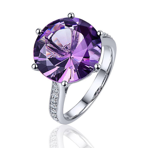 Image of Maia Amethyst 14k White Gold Solitaire Ring with Pave Diamonds