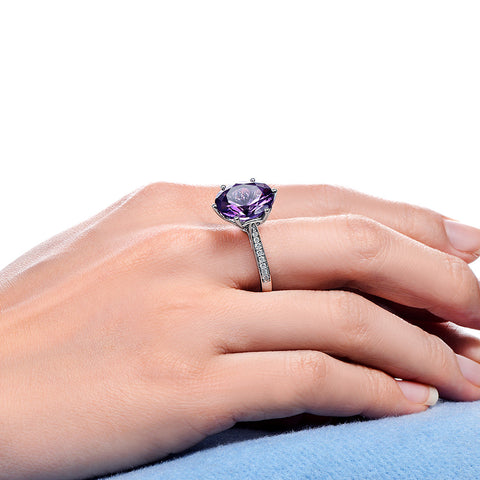 Maia Amethyst 14k White Gold Solitaire Ring with Pave Diamonds