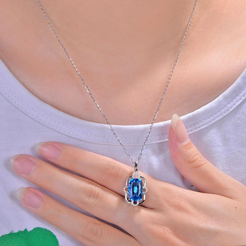 Hathor Sky Halo Blue Topaz 14k White Gold Pendant