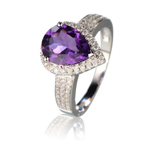 Eos Amethyst 14k White Gold Ring