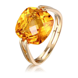 Hecate Citrine Solitaire 14k Yellow Gold Ring