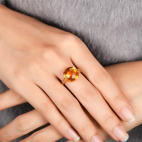Image of Hecate Citrine Solitaire 14k Yellow Gold Ring