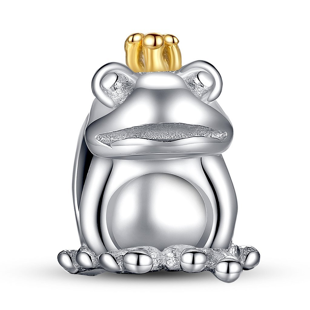 Handsome Lucky Frog King Silver Sterling Charm Bead for Charm Bracelet