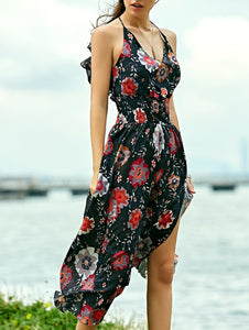Bohemian Floral Print Maxi Strap Dress For Women Flirty Bug Free Shipping
