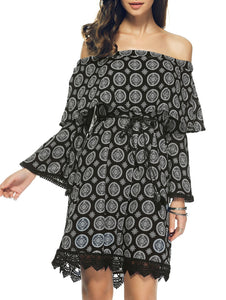 Stylish Bell Sleeve Off The Shoulder Print  Crochet Trim Dress - Black