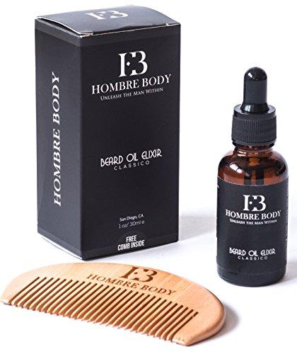 Beard Oil and Comb Gift for Men with Organic Ingredients-Unscented