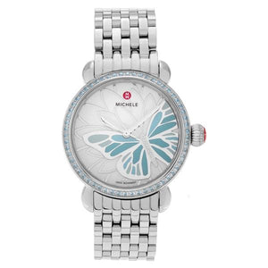 Michele Women's 'Garden Party' Stainless Steel Topaz Diamond Accent Link Watch Flirty Bug