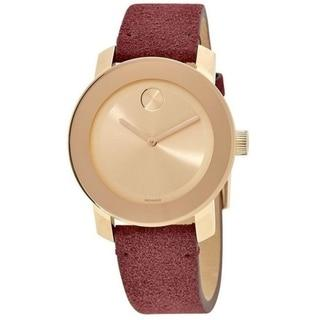 Movado Bold Red Suede Ladies Watch Flirty Bug