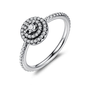 Sterling Silver Round Shape Radiant Elegance, Clear CZ Flower Ring