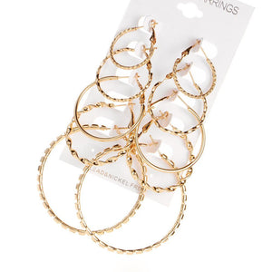 5 Pairs/set Vintage Silver Gold Big Circle Hoop Earrings