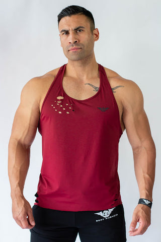 Body Phenom Distressed Tank - BURGANDY
