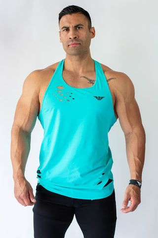 Body Phenom Distressed Tank - CYAN BLUE