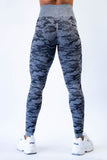 Dream Camouflage Seamless Leggings and Crop Top Set - Charcoal Black