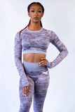 Dream Camouflage Seamless Leggings and Crop Top Set - Lilac