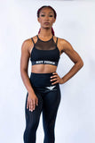 The Icon Mesh Halter Sports Bra - Black
