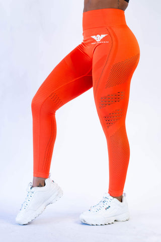 Victory Seamless Eyelet Leggings - True Orange