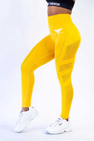 Victory Seamless Eyelet Leggings - Yellow