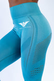 Victory Seamless Eyelet Leggings - Light Turquoise Blue