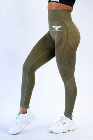 Victory Seamless Eyelet Leggings - Military Green