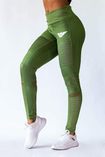 Body Phenom Women's Green Moto Leggings