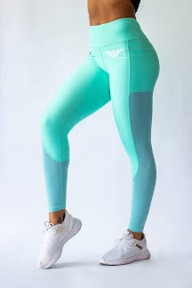 Phenom Two Toned Leggings - TIFFANY BLUE