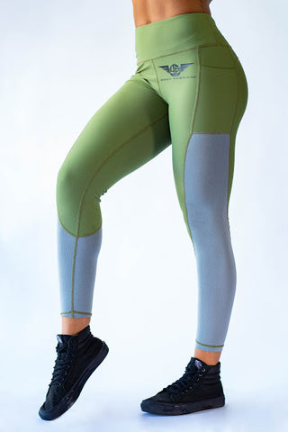 Phenom Two Toned Leggings -  MILITARY GREEN