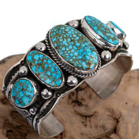 Navajo Turquoise Bracelet GUY HOSKIE Sterling Silver Natural Indian Mt Spiderweb
