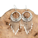 "Native American Earrings ""SILVER PUEBLO"" Navajo Sterling Vintage Long Dangle"