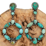 Native American Turquoise Earrings Navajo Hoop Sterling Silver Vintage Dangle