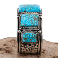 Navajo Turquoise Bracelet Sterling Silver Navajo ALBERT JAKE Natural MENS HEAVY