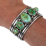 Native American Turquoise Bracelet SONORAN GOLD Cuff Sterling Silver ALBERT JAKE