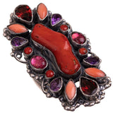 "LEO FEENEY Coral Ring Cocktail Amethyst Sterling Silver Gemstones ""Fridas Love"""