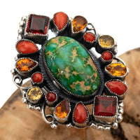 "LEO FEENEY Turquoise Ring ""ROAD TO TAOS"" Coral Sterling Silver Gemstones 8"