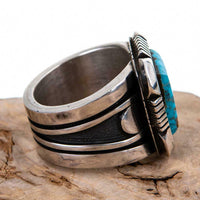 Native American Turquoise Ring Sterling Silver NATURAL Kingman COOPER WILLIE 10