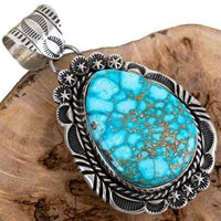 Squash Blossom Necklace Pendant KINGMAN Turquoise Spiderweb Native American A+