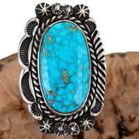 Turquoise Ring Sterling Silver AARON TOADLENA Natural Spiderweb Kingman 7