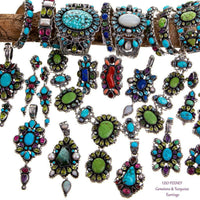 "LEO FEENEY Turquoise Earrings Sterling Silver Chandelier Topaz ""Dancing Totem"""