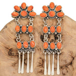 """SANTA FE SUNRISE"" Earrings Orange Spiny Oyster Sterling Silver LONG Dangles"