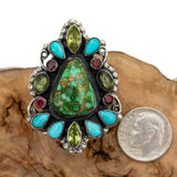 "LEO FEENEY Turquoise Ring ""SACRED EARTH"" Sterling Silver SONORAN GOLD 9 Gemstone"