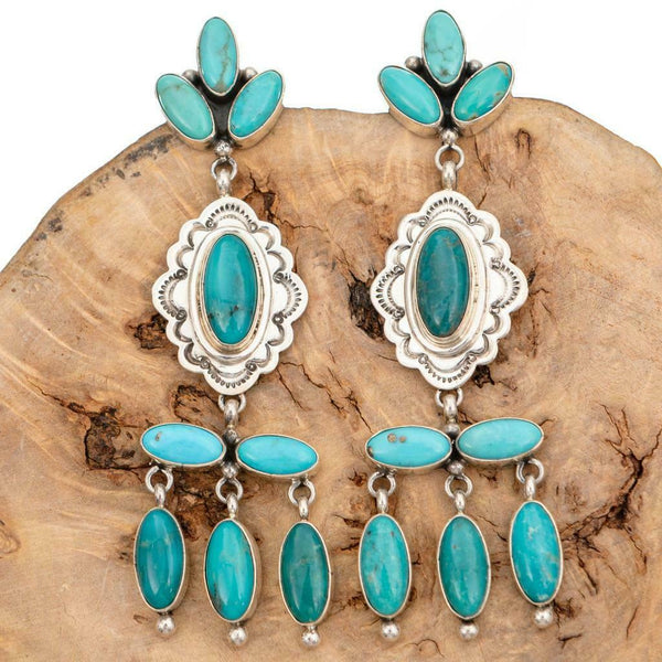Native American Turquoise Earrings Sterling Silver Chandelier LONG Dangles Old s