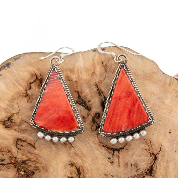 """NAVAJO SUNRISE"" Earrings Orange Spiny Oyster Shell Sterling Silver Old Style"