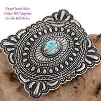 NAVAJO Concho BELT BUCKLE Sterling Silver Golden Hill Turquoise Tsosie White A+