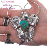 XXL Squash Blossom Necklace Pendant BUTTERFLY Brooch Joe Eby HUGE Big SHOW