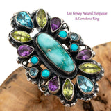 "LEO FEENEY Turquoise Ring Cocktail ""Water Dancer"" Sterling Silver Gemstones 9"