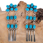 Long Chandelier Sterling Silver Turquoise Dangles Old Pawn Style