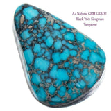 A+ BLACK WEB KINGMAN Natural Spiderweb Turquoise Cabochon Cab Nt Lander Blue 7.2