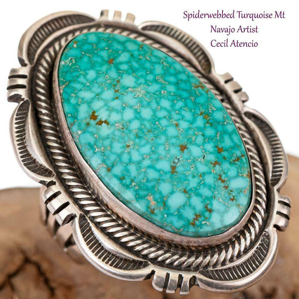 Navajo Turquoise Ring Sterling Silver GEM Natural Indian Mt.  CECIL ATENCIO 9